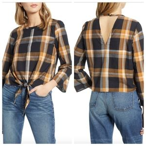 NWT $80 Madewell Plaid Tie Front Keyhole Top SZ XS